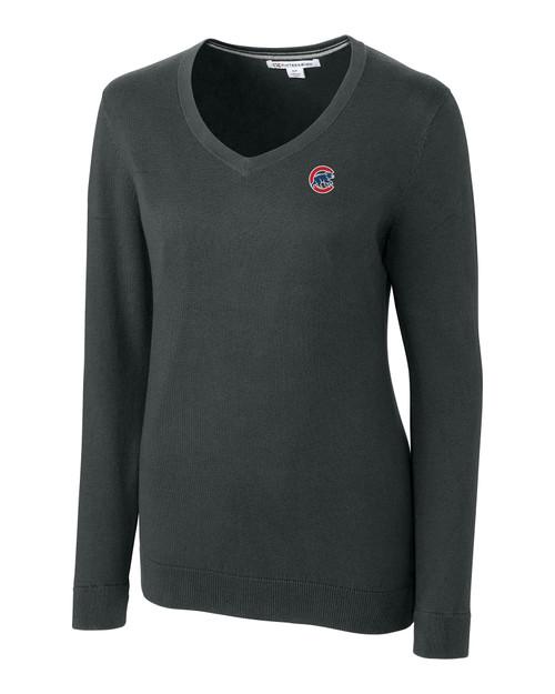 Chicago Cubs Cutter & Buck Lakemont Tri-Blend Womens V-Neck Pullover Sweater CCH_MANN_HG 1