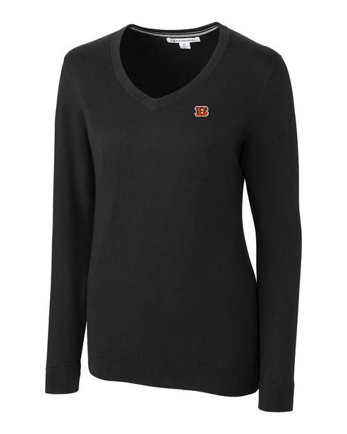 Cincinnati Bengals Cutter & Buck Lakemont Tri-Blend Womens V-Neck Pullover Sweater BL_MANN_HG 1