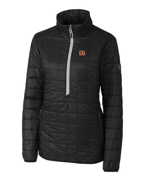 Cincinnati Bengals Cutter & Buck Rainier PrimaLoft® Womens Eco Insulated Rainier Half Zip Popover Quilted Jacket BL_MANN_HG 1
