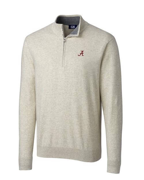 Alabama Crimson Tide Cutter & Buck Lakemont Tri-Blend Mens Quarter Zip Pullover Sweater OMH_MANN_HG 1