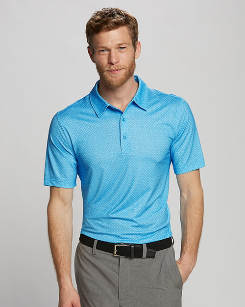 The Westward Print Polo offers a subtle geo print and moisture-wicking CB Drytec jersey fabric that also provides UPF 50+ sun protection.