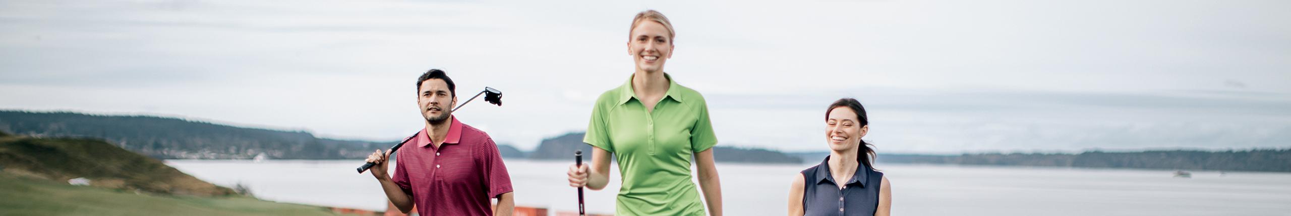 Woman wearing womens golf clothes, women's golf apparel.