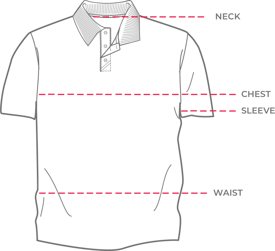 Shirt showing how to get fitted for neck, chest, waist, sleave
