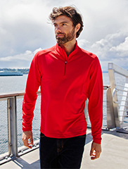 man with red shirt