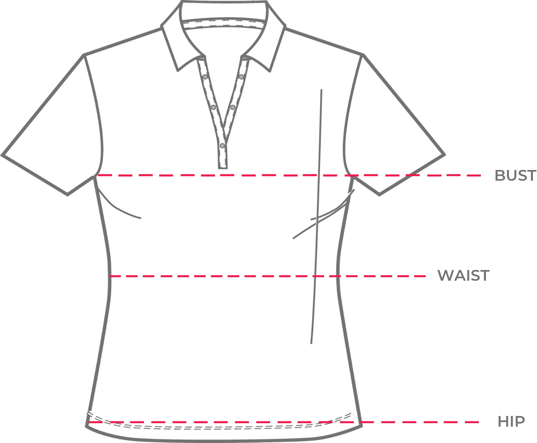 Shirt showing how to get fitted for bust, waist, hip
