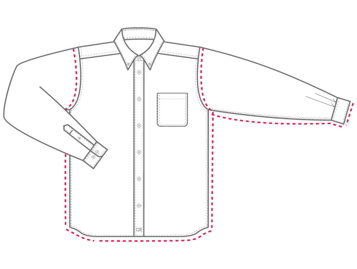 Men's Shirts Relaxed Fit sizing chart