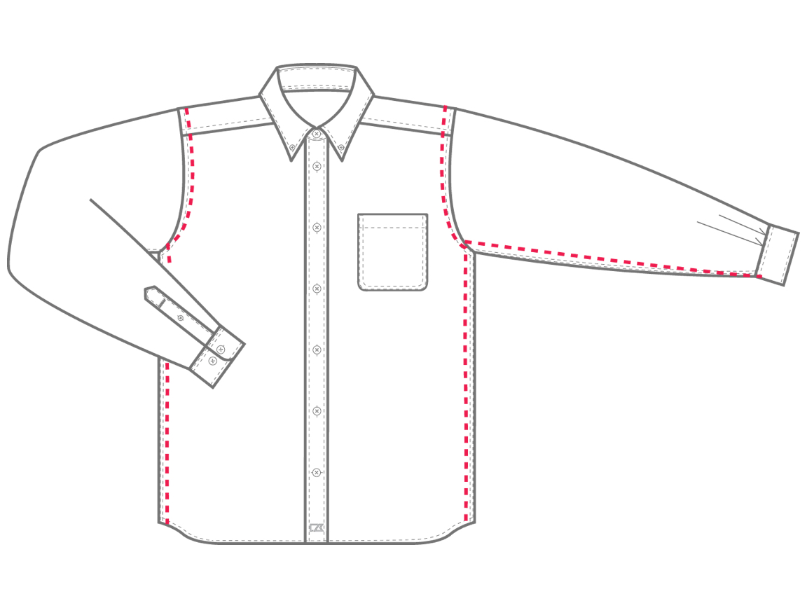 Men's Tailored Fit sizing chart