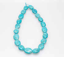 Sleeping Beauty Turquoise Flat Ovals - SBFL33a