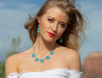 Sleeping Beauty Turquoise Flower Necklace -JSBF1