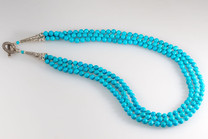 Sleeping Beauty Turquoise Necklace (6mm Round w/Sterling Silver Clasp)