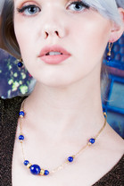 Lapis Necklace w/18k Gold Beads & Earrings