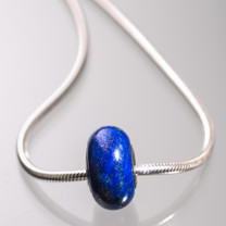 Lapis & Sterling Silver Bead- 1 pc-7x12mm LPS1a