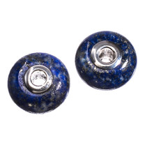 Lapis & Sterling Silver Bead- 9x14mm