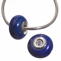 Lapis & Sterling Silver Bead- 2 pc-9x14mm