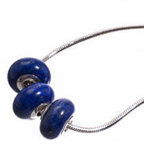 Lapis & Sterling Silver Bead- 3 pc-9x14mm