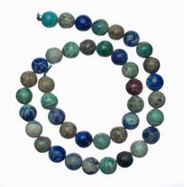 Bluebird Azurite-Malachite- 10mm Rounds(Globe,Az)