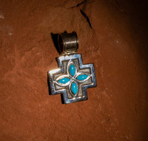 Sterling Silver & Sleeping Beauty Turquoise Cross