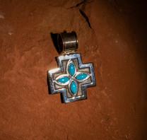 Sterling Silver & Sleeping Beauty Turquoise Cross