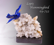 Lapis Hummingbird on Quartz Crystal Specimen Base-Collectibles-One of the Kind