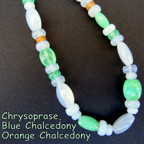 Blue Chalcedony & Chrysoprase & Orange Chalcedony  BC26