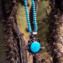Sleeping Beauty Turquoise Pendant w/6mm Rondels -SBTSa1