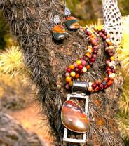 Mookaite Bead 6mm 3 Strand Necklace w/Pendant & Earrings Mookite1