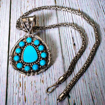 Sleeping Beauty Turquoise & SS Pendant & Chain  SBP3a