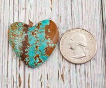 Number Eight Turquoise Heart - 33x32x6mm N8H1M
