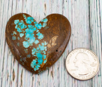 Number Eight Turquoise Heart - 46x49x8mm N8H3EL