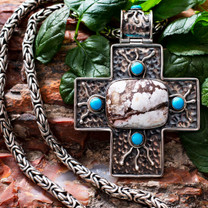 Wild Horse Cross & Byzantine Sterling Silver Chain w/ SS Clasp WHSC1a