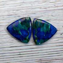 Azurite & Malachite Pair-25x25x25x3mm (Bisbee,Arizona)