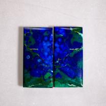 Azurite & Malachite Pair-32x16x3mm (Bisbee,Arizona) B109