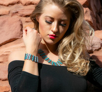 SS Chain Necklace & Bracelet w/  Turquoise #231