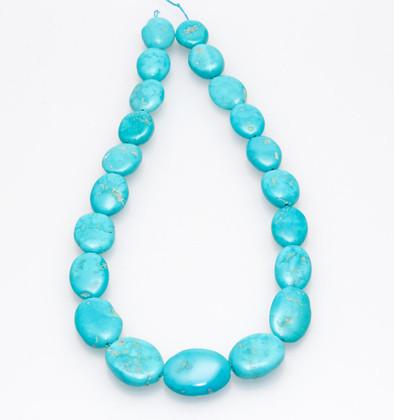 Sleeping Beauty Turquoise Flat Ovals - SBFL33b