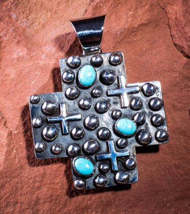 Sterling Silver & Campitos Turquoise Cross