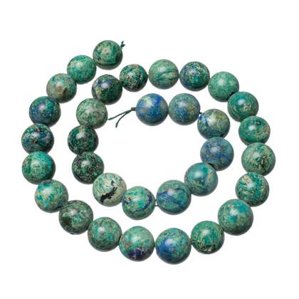 Bluebird Azurite-Malachite- 12mm Rounds(Globe,Az) BAM12b