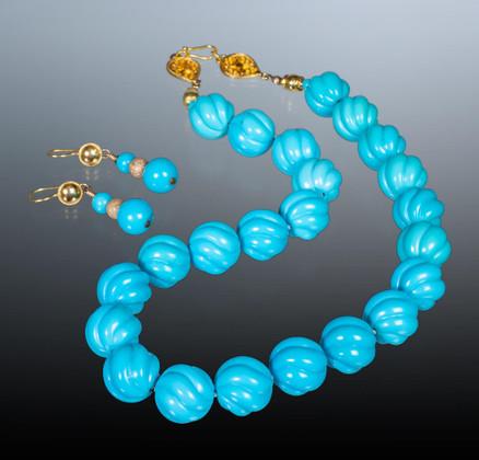 Sleeping Beauty Turquoise - Necklace- Earrings Set -JSBM1a