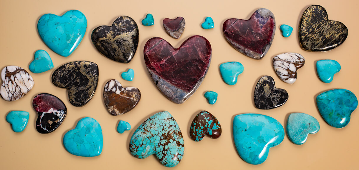 stone hearts,turquoise,wild horse magnesite,eudialyte