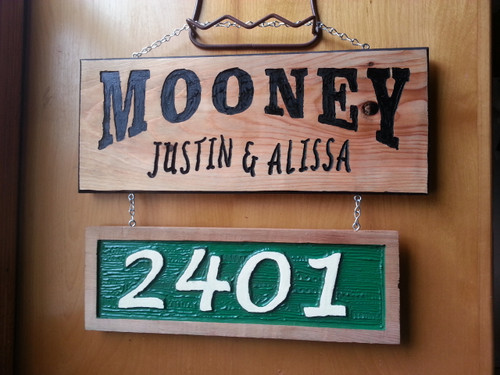 Address and Name Custom Carved Wood Sign