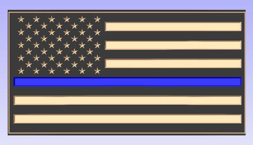 Custom Carved Blue Line Wood Flag