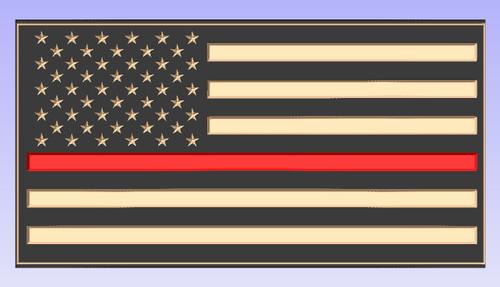 Custom Carved Red Line Wood Flag