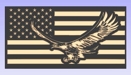 Custom Carved Flying Eagle Wood Flag