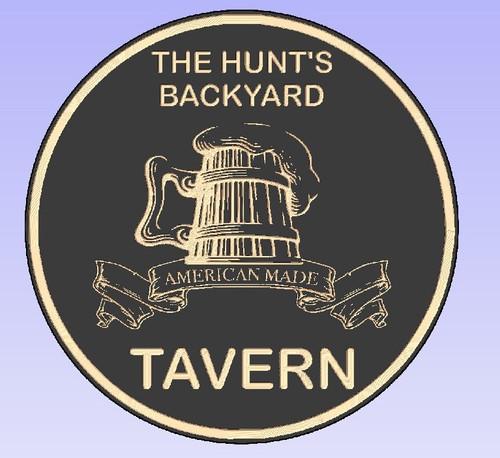 Back Yard Tavern Round Sign Personalized