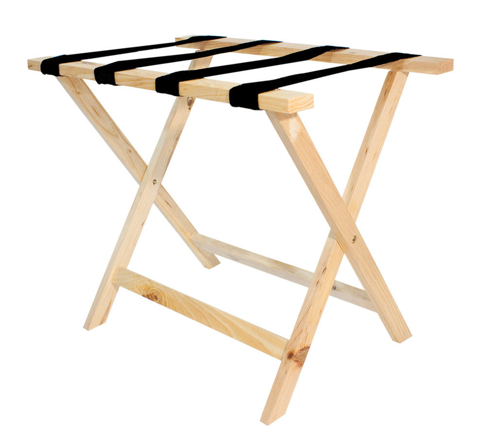 Deluxe Wood Luggage Rack- Natural Finish