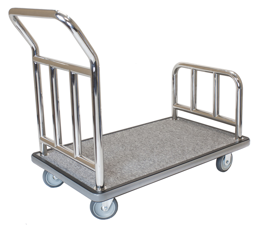 One Box Utility Bellman's Cart- Stainless Steel Finish- Wholesale Hotel Products