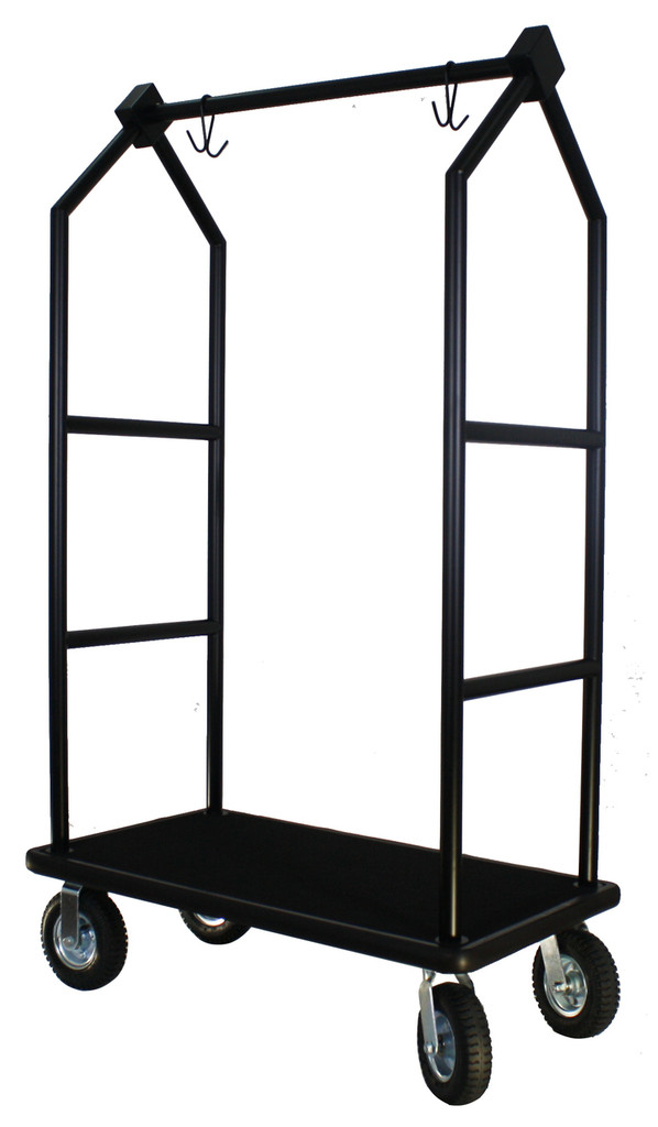 Modern Bellhop Bellman's Cart - Black Powder Coat Finish- Wholesale Hotel Products