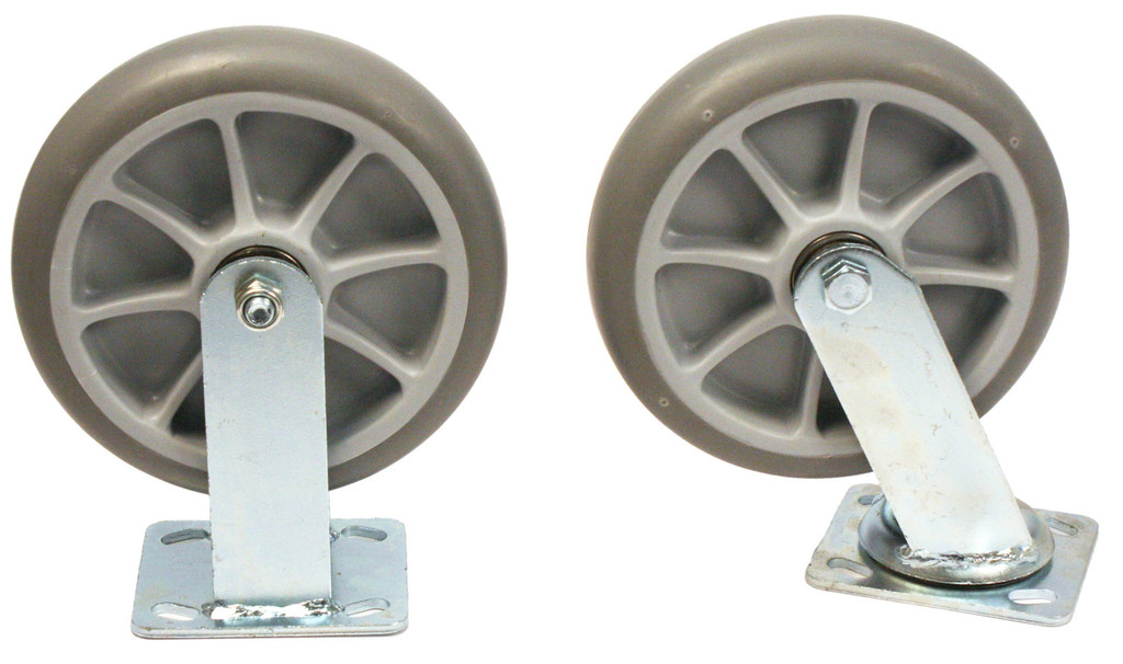 "8"" semi-pneumatic (solid rubber) wheels"