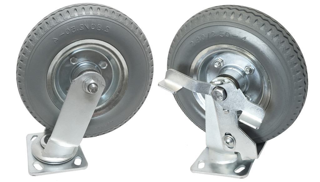 "8"" no-flat wheel with brake (soft rubber)"