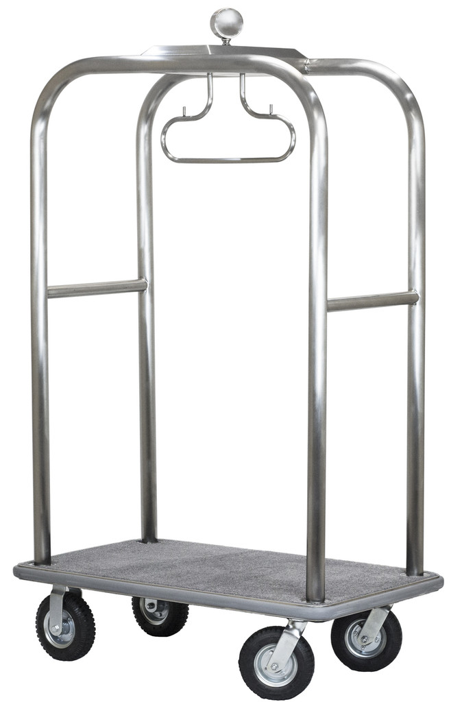 Executive Bellman's Cart- Brushed Stainless Steel Finish- Wholesale Hotel Products