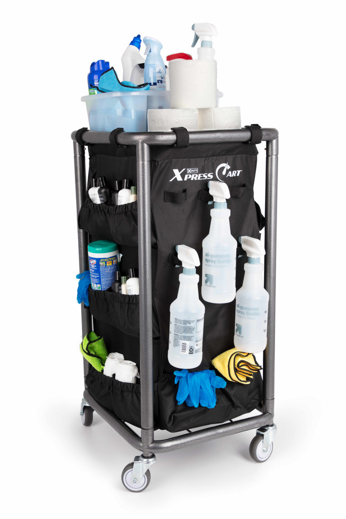 Housekeeping and Janitorial Cart with Rolling Wheels